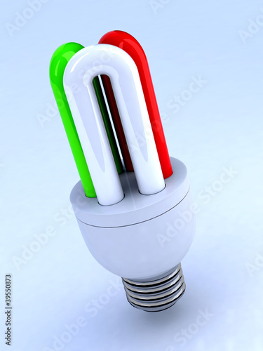 light bulb with italian flag
