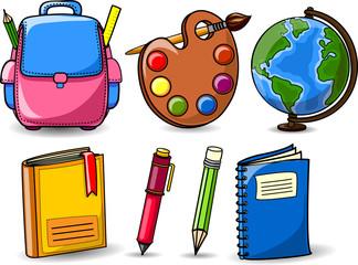 Мультфильм школьные ранцы,  книги, глобус, палитра красок