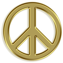 Peace symbol - golden