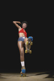Portrait of woman on roller skates
