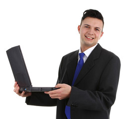 business guy with a laptop