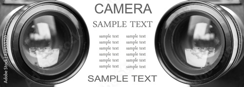 Camera lenses isolated on white background