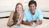 Video of a couple playing video games