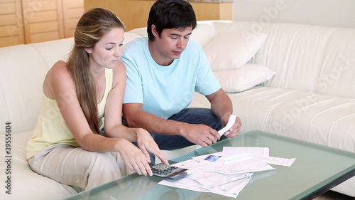 A couple doing their accounts
