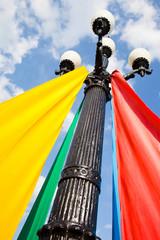 Colorful ribbons on the lamppost