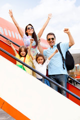 Happy family going on holidays