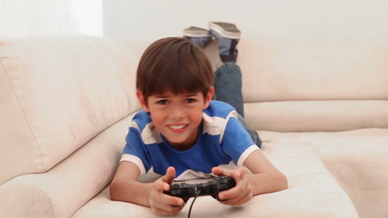 Boy loses at his video game