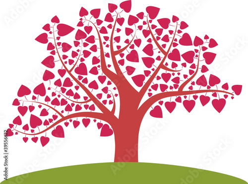 Tree with heart leaves vector