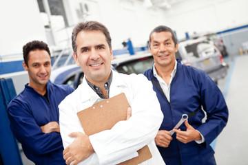 Mechanics at a garage