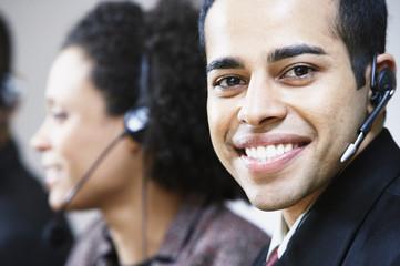 Portrait of businessman with earpiece