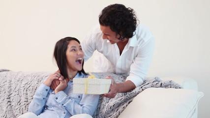 Man surprising his wife