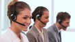 Business people working with headsets