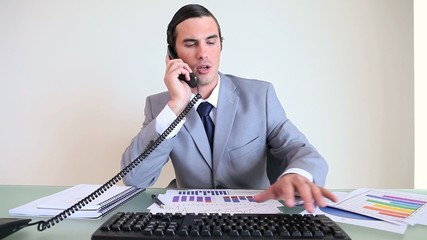 Executive working while talking on the phone