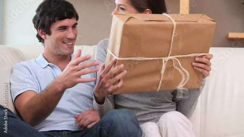 Couple receiving a box