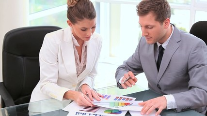 Business people working together on documents