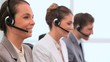 Happy call centre agents working