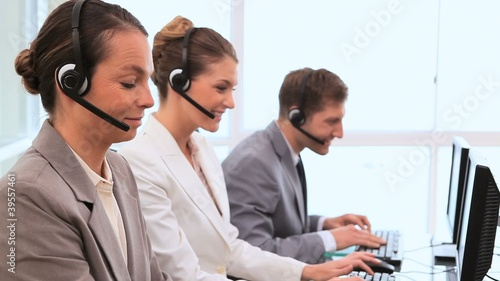 Call centre agents using computers