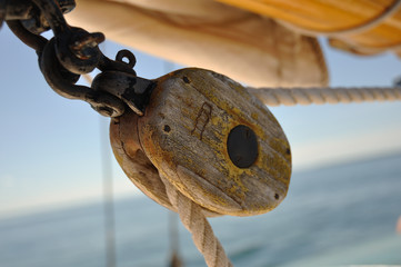 Old Wooden Block (Pulley) on Schooner