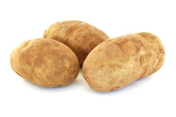 Three Raw Russet Potatoes