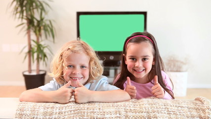 Children sitting on a couch