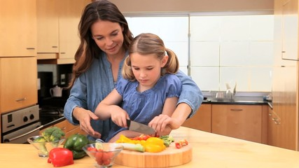 Smiling mother cooking with her daughter