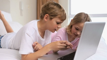Cheerful siblings using a laptop