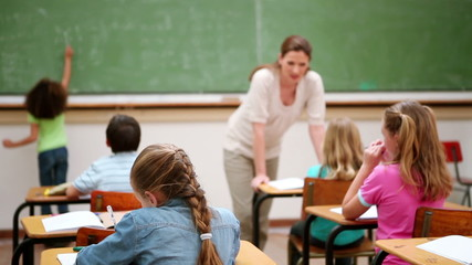 Teacher talking to her pupils