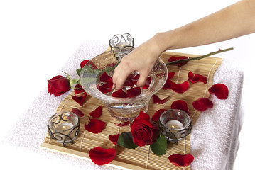 Pampering manicure hand soak spa