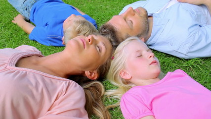 A family lies head to head in grass while sleeping before