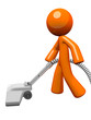 Orange Man Vacuuming 3d Render