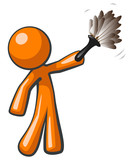 Orange Man Holding Feather Duster, Cleaner or Butler poster
