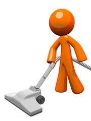 Orange Man Vacuuming 3d Render