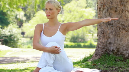Woman performing a yoga position in the park