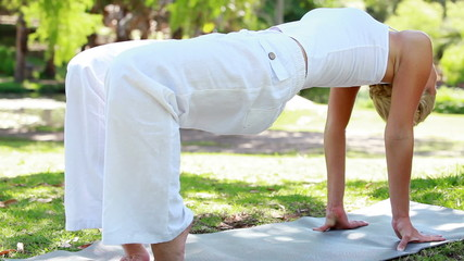 A woman holding a yoga position in the park