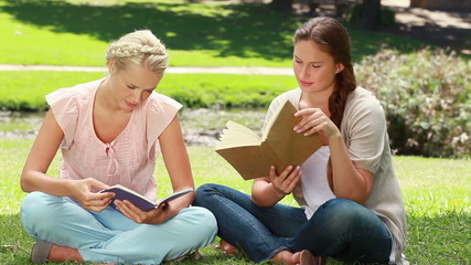 Two women read books in the park as one shows her friend her book and they laugh