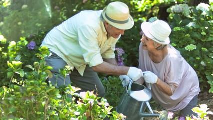 Old people watering plants in slow motion