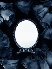 バラとシルバーの鏡