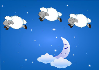 Sheep with moon and stars