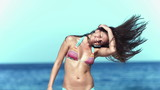 Brunette shaking her hair in slow motion