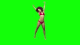 Happy brunette jumping in slow motion