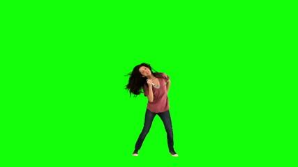 Brunette singing in slow motion