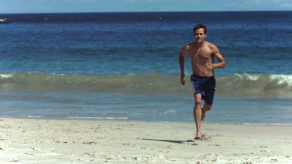 Man running in slow motion