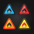 Hazard warning triangle highly flammable warning set symbols