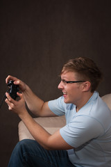 profile portrait of an excited gamer