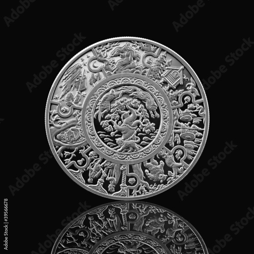 russian tales silver coin isolated on black