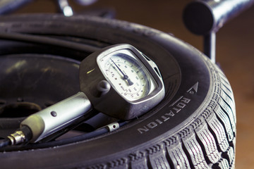 Guage meter on a tire