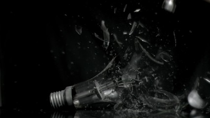 Bulb being crushed in super slow motion