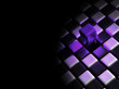 Purple cube above many cubes with a black background