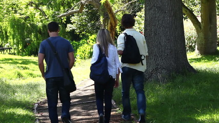 Three friends walk away in a park