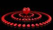 im Zentrum der Herzen Rot Schwarz
